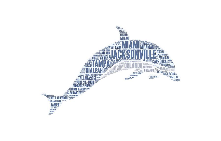 Jacksonville Photograph - Dolphin Illustrated With Cities Of Florida State by Artpics