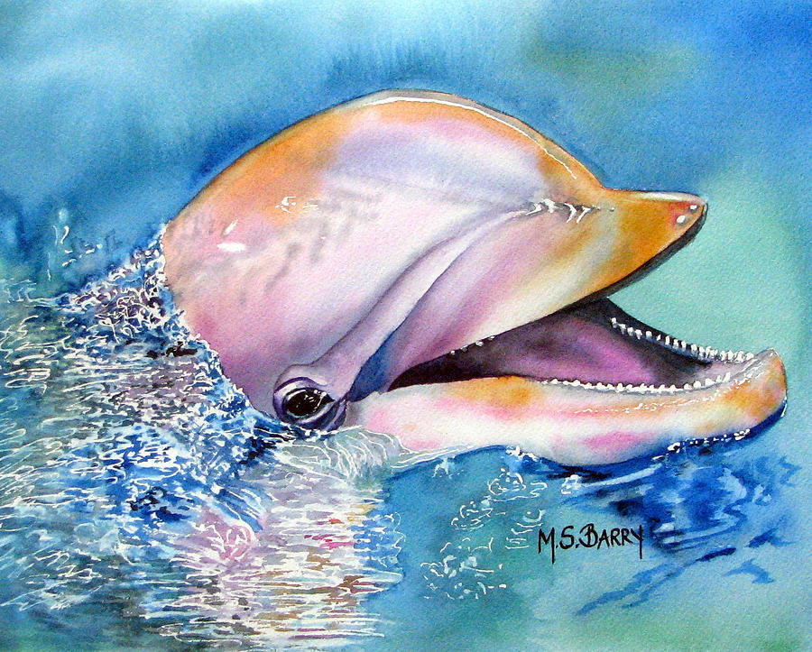 Dolphin Painting By Maria Barry