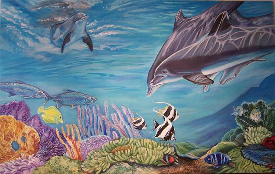 Underwater Scene Painting - Dolphin Pod by Diann Baggett