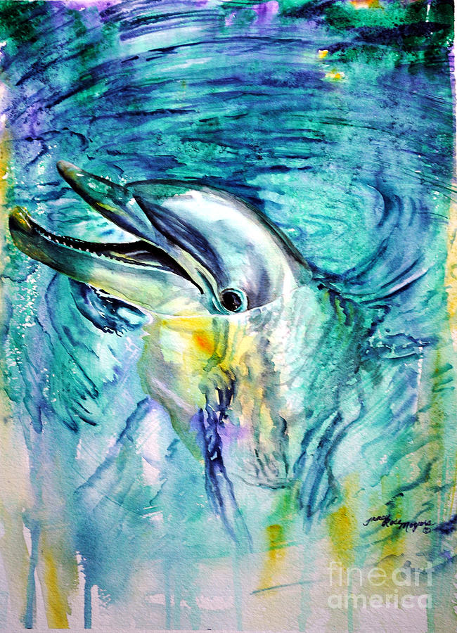 Dolphin Painting - Dolphin Smile by Tracy Rose Moyers