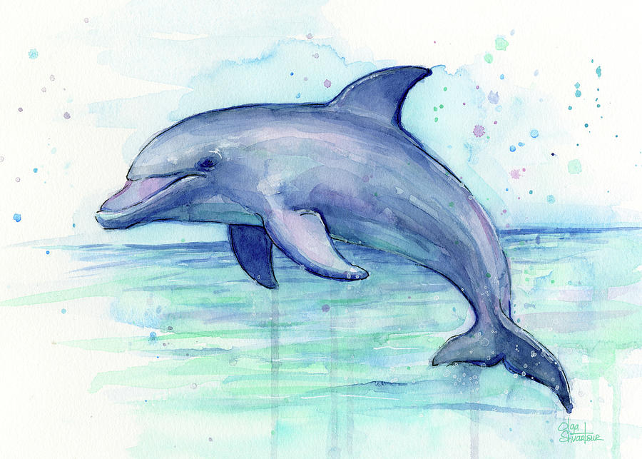 6e3d990a19a Dolphin Watercolor Painting by Olga Shvartsur