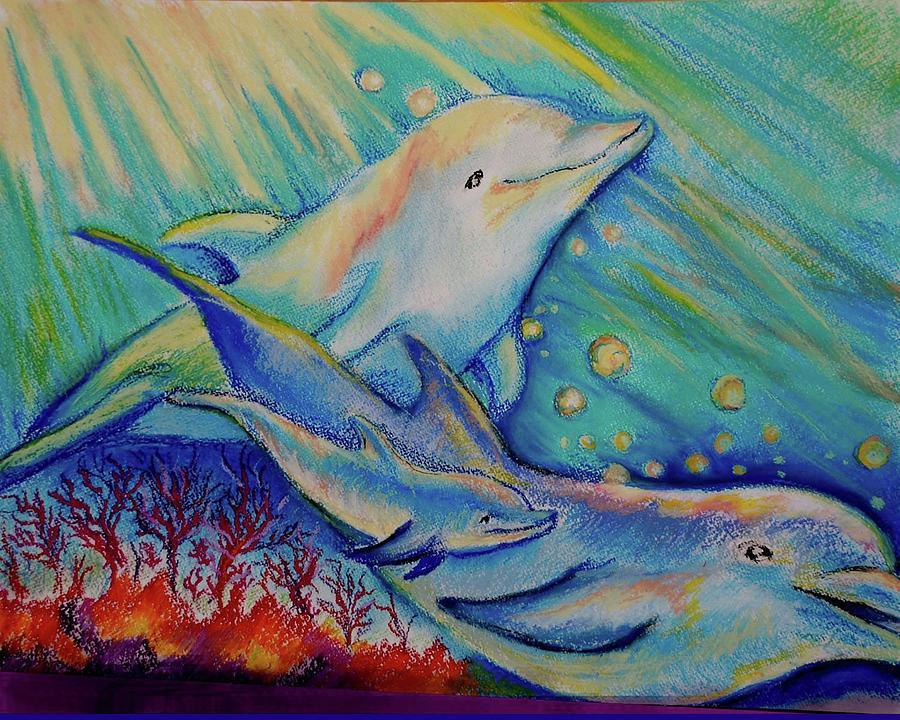рисунки гуашью дельфины всегда
