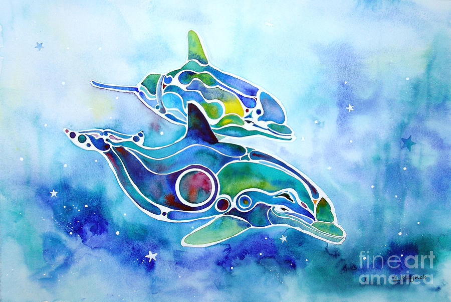 Dolphins Painting - Dolphins Dance by Jo Lynch