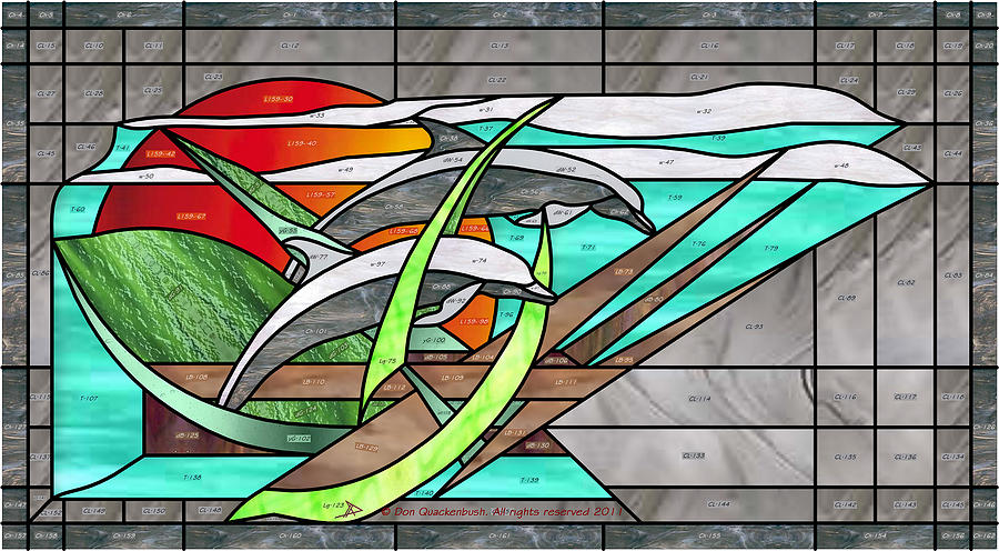 Stained Glass Glass Art - Dolphins by Don Quackenbush
