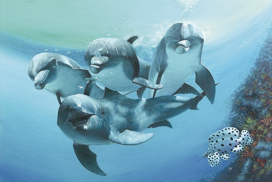 Coral Reef Painting - Dolphins by Durwood Coffey