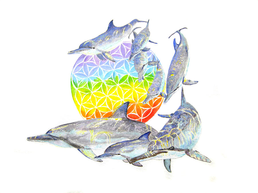 Dolphins Painting - Dolphins-flower Of Life2 by Tamara Tavernier