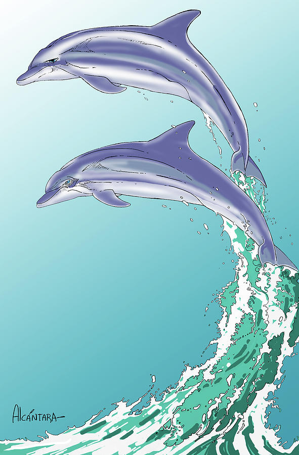 Dolphins Digital Art - Dolphins Jumping Out Of The Water by Juan Alcantara