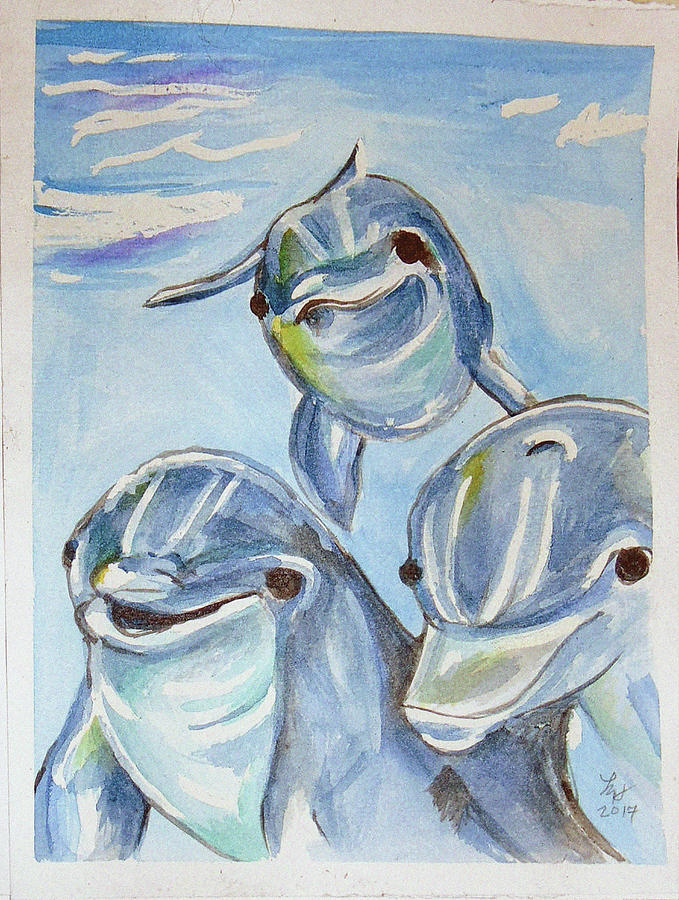 Dolphins Painting by Loretta Nash