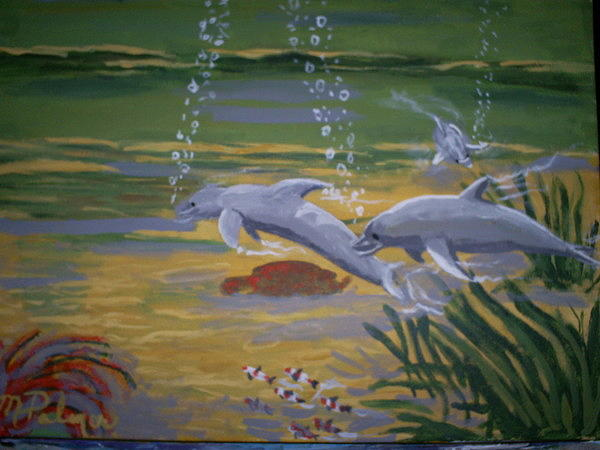 Dolphins Painting by Margaret Palmer