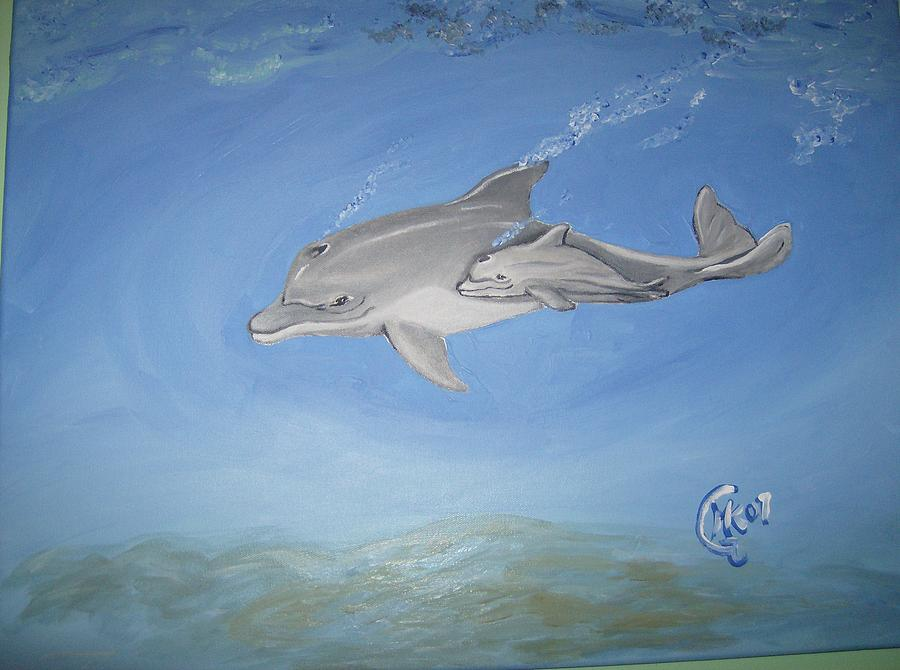 Dolphins Painting - Dolphins by Michaela Gilt