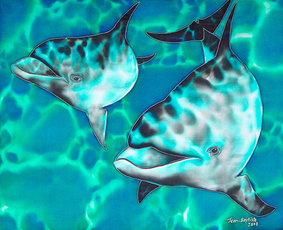 Caribbean Sea Painting - Dolphins Of Sanne Bay by Daniel Jean-Baptiste