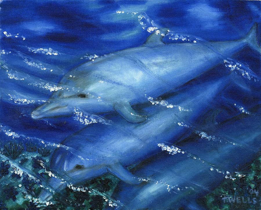 Dolphins Painting - Dolphins Swimming by Tanna Lee M Wells