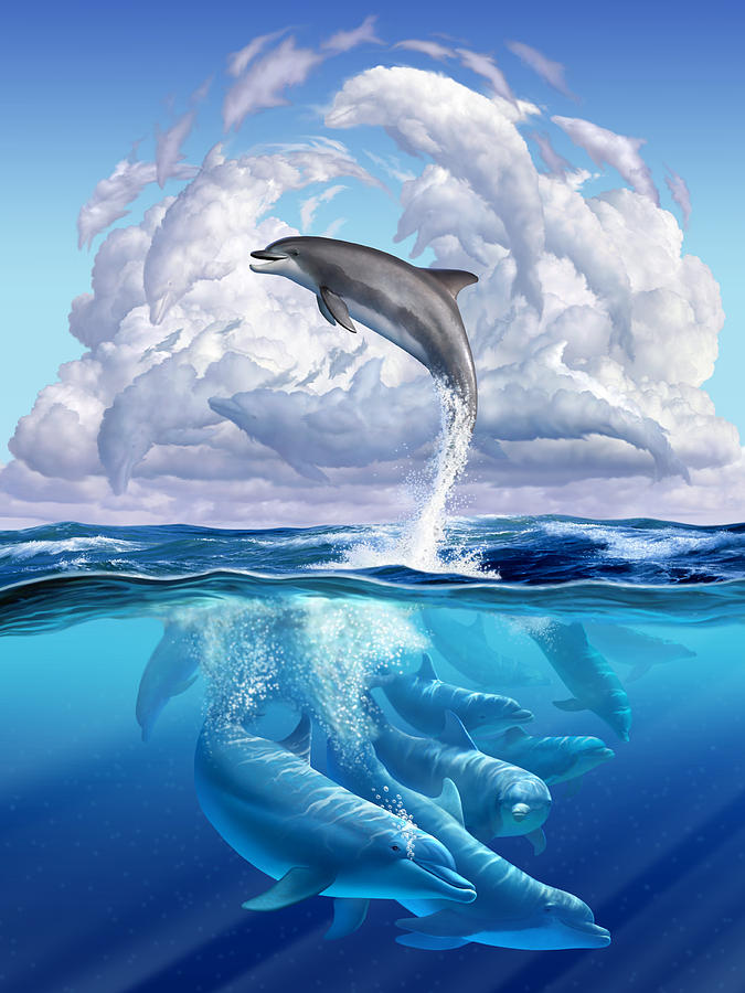 Dolphins Digital Art - Dolphonic Symphony by Jerry LoFaro
