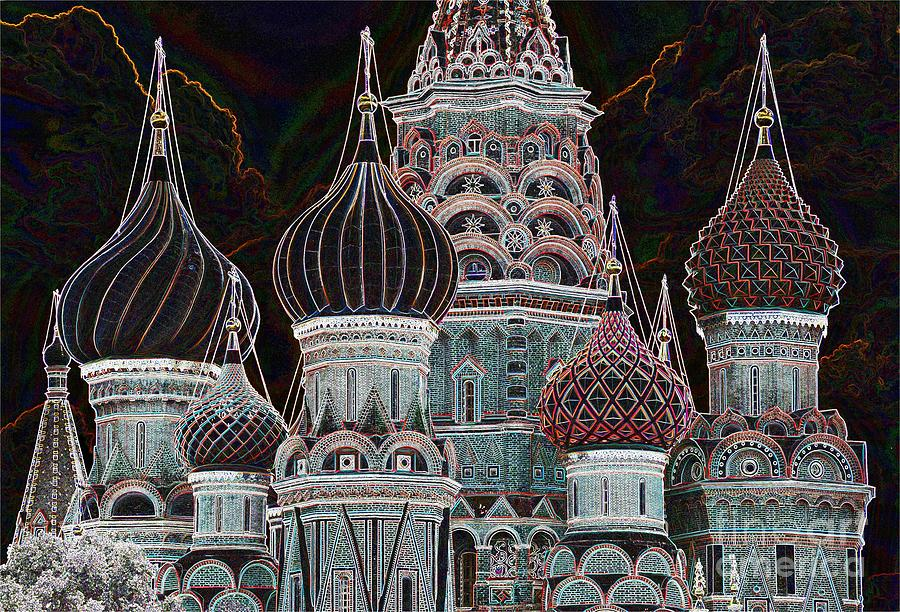 Moscow Photograph - Domes Of St. Basil Cw by Steven Liveoak