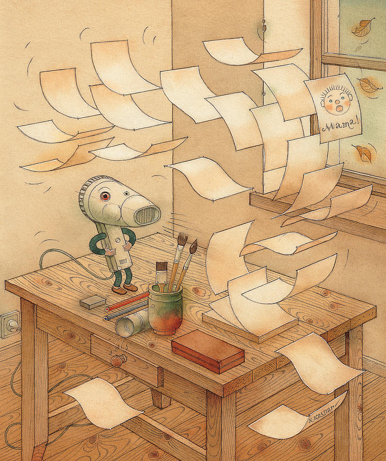 Wind  Paper Autumn Storm Painting - Domestic Wind Hairdryer by Kestutis Kasparavicius