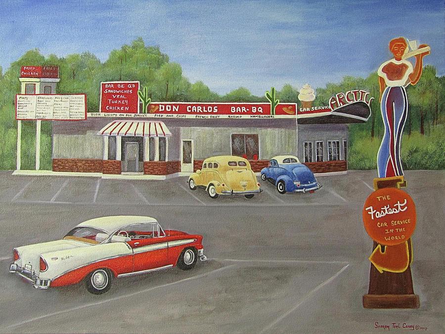 Don Carlos Drive Inn Painting by Sharon Coray