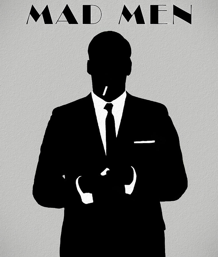 Don Draper Mad Men Silhouette Mixed Media by Dan Sproul