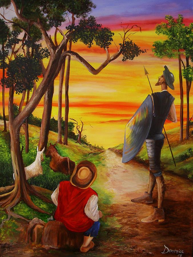 Don Quixote Painting - Don Quixote and Sancho by Dominica Alcantara