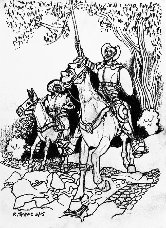 Don Quixote Drawing - Don Quixote by Rich Travis