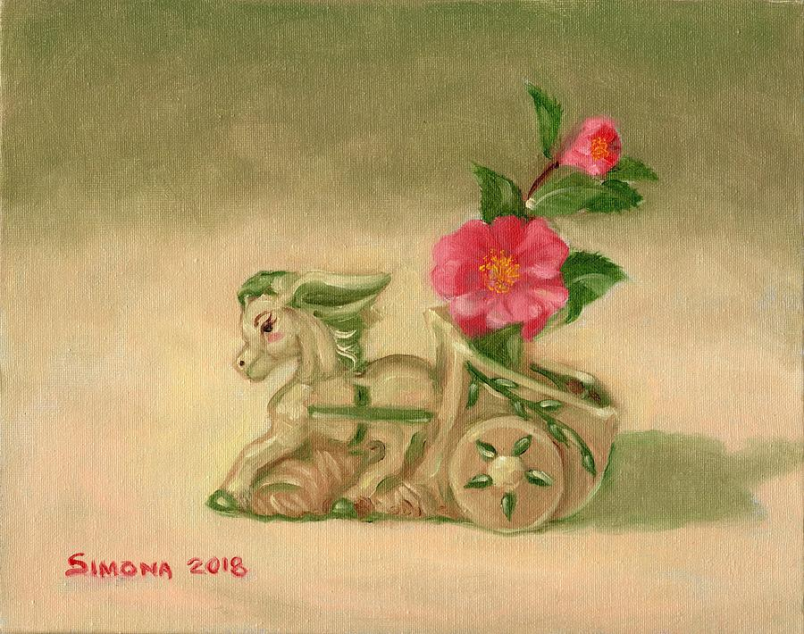 Donkey And Camelia Painting by Simona Hernandez