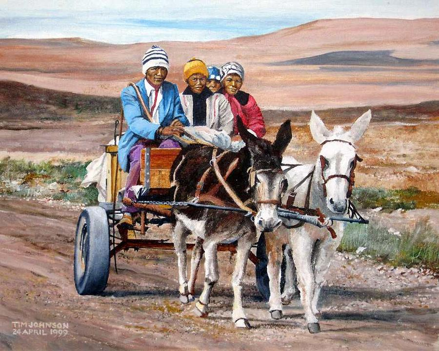 Northern Cape Painting - Donkey Cart by Tim Johnson