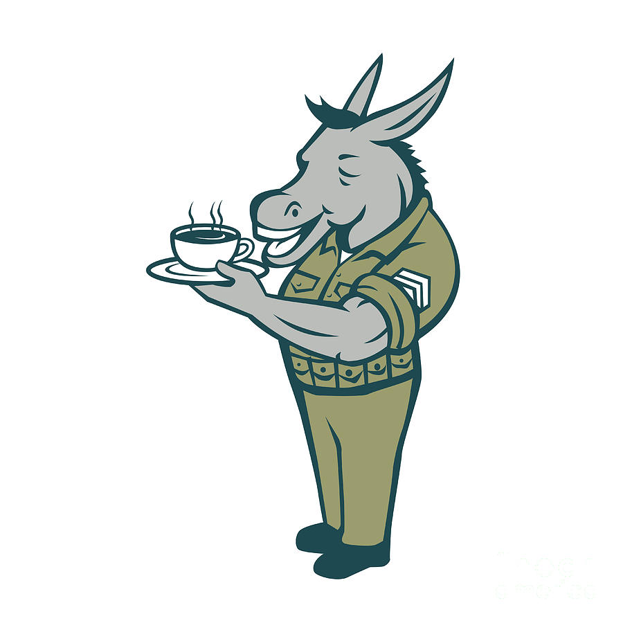 donkey sergeant army standing drinking coffee cartoon digital art