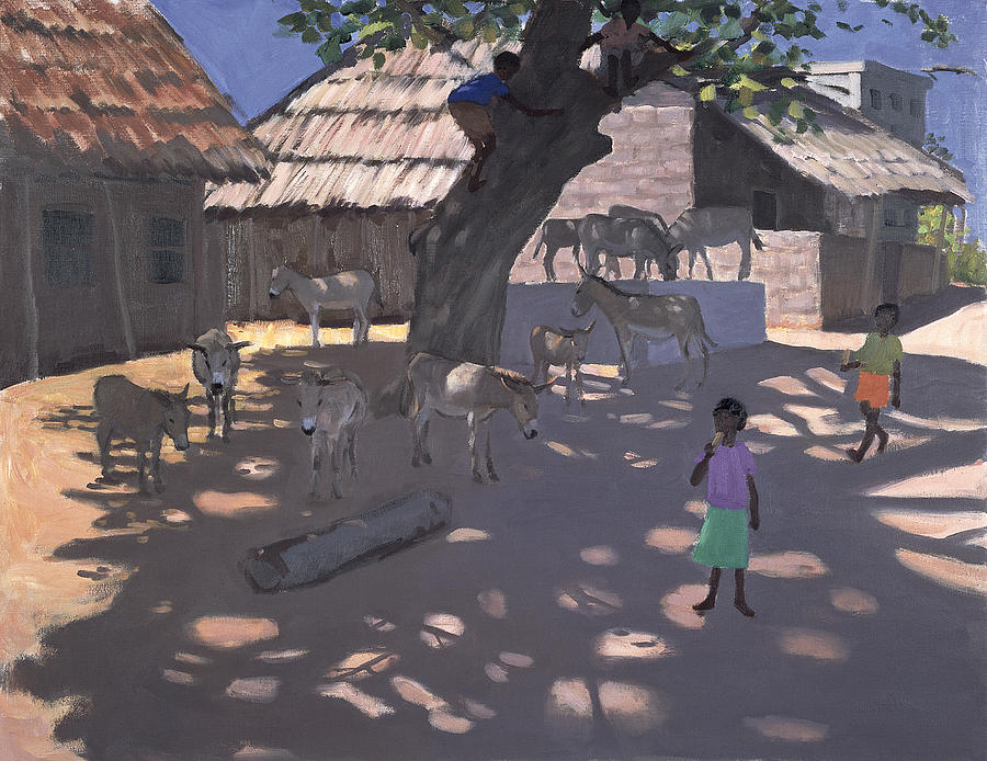 African Painting - Donkeys Lamu Kenya by Andrew Macara