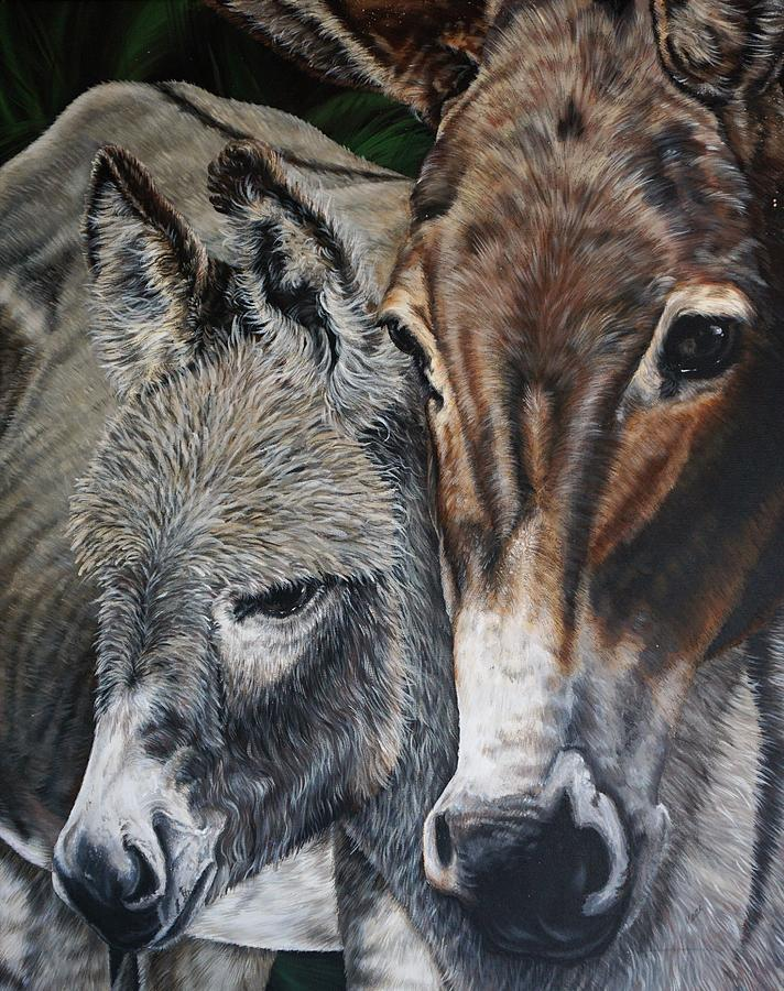 Wildlife Painting - Donkies by Katie McConnachie