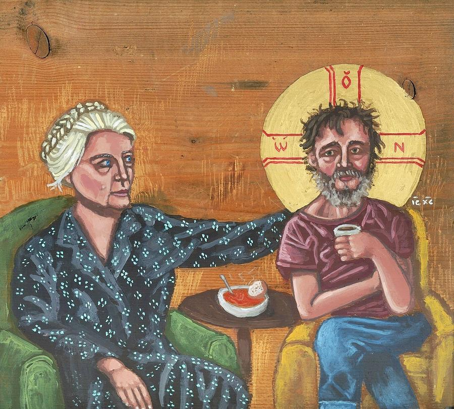 Dorothy Day Painting - Dont Call Me A Saint- Dorothy Day With Homeless Christ by Kelly Latimore