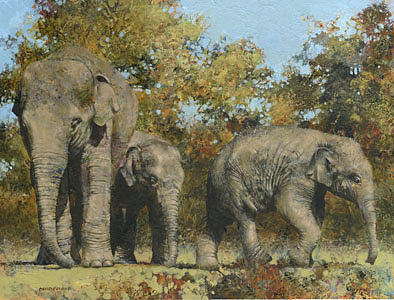 Elephants Painting - Dont Go Too Far Now by David Lyons