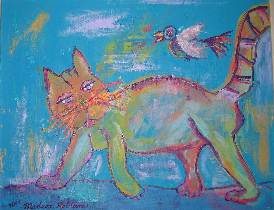Cat Painting - Dont Look Back by Marlene Robbins