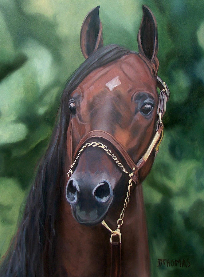 Horse Portrait Painting - Dont Worry Saddlebred Sire by Donna Thomas