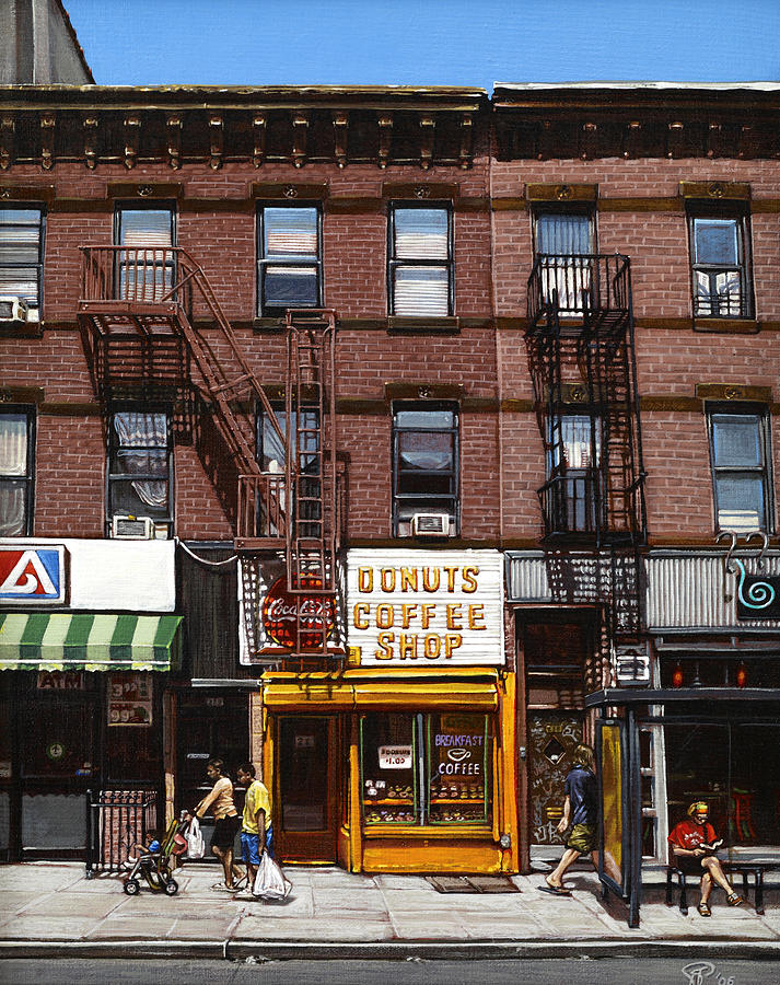 Brooklyn Painting - Donut Shop by Ted Papoulas