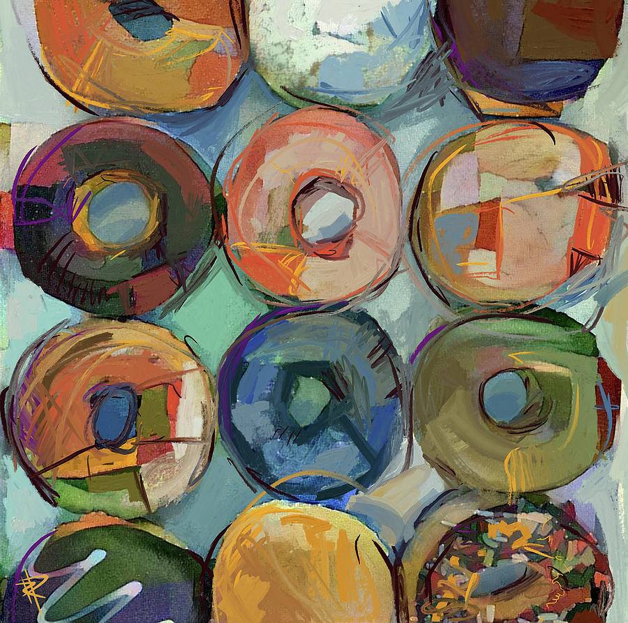 Abstract Mixed Media - Donuts Galore by Russell Pierce