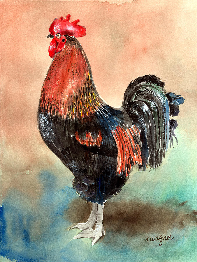 Rooster Painting - Doodle by Arline Wagner
