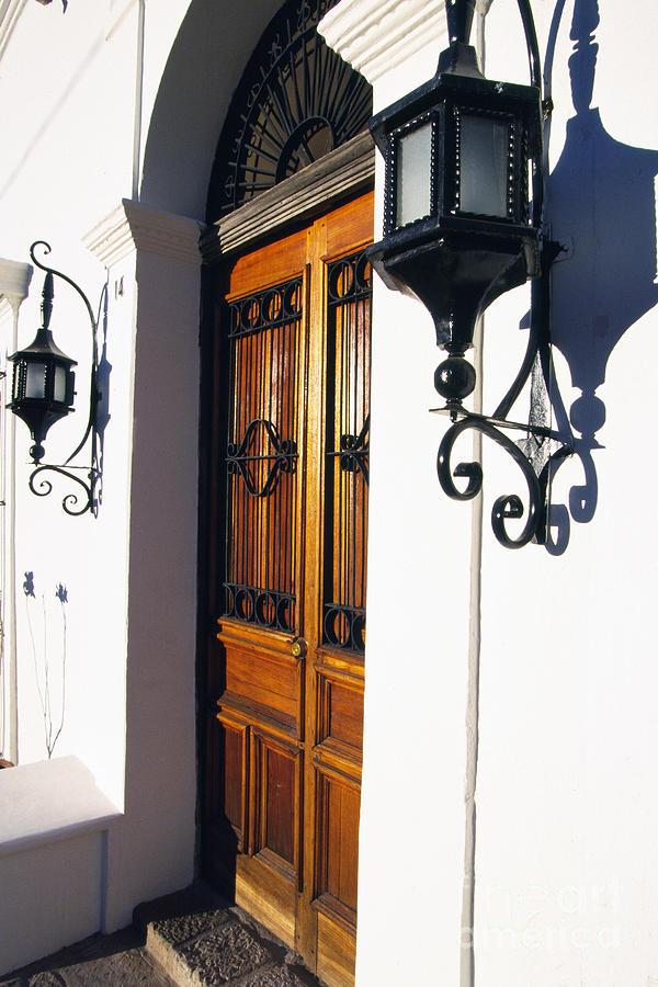 Wooden Door Photograph - Door And Lamps by Thomas R Fletcher