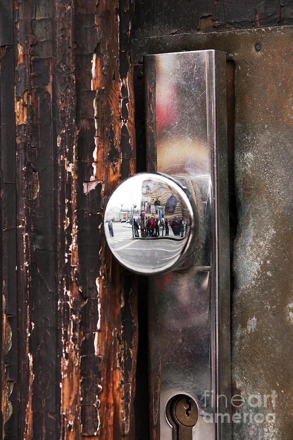 Prague Photograph - Door Reflections by John Rizzuto