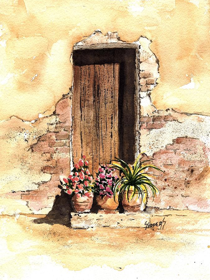 Door Painting - Door With Flowers by Sam Sidders