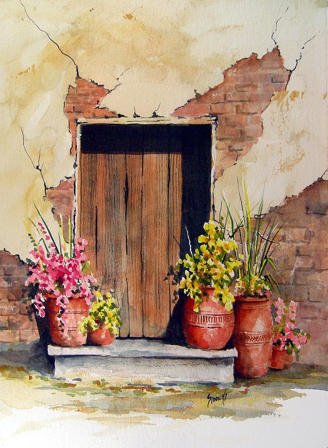 Flowers Painting - Door With Pots by Sam Sidders