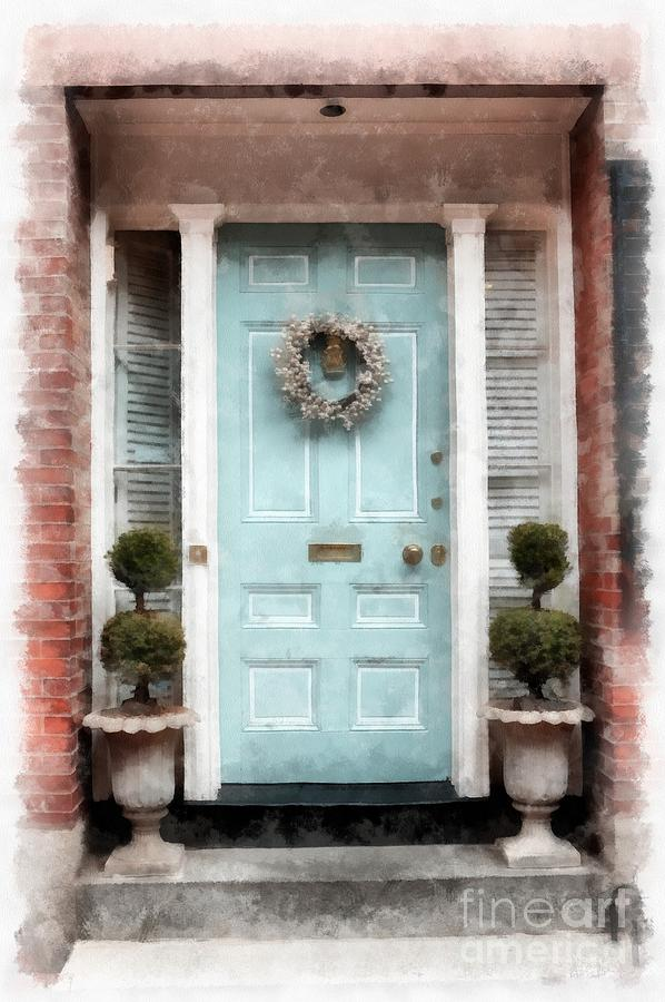 Watercolor Photograph - Doors Of Boston Blue by Edward Fielding : boston doors - pezcame.com