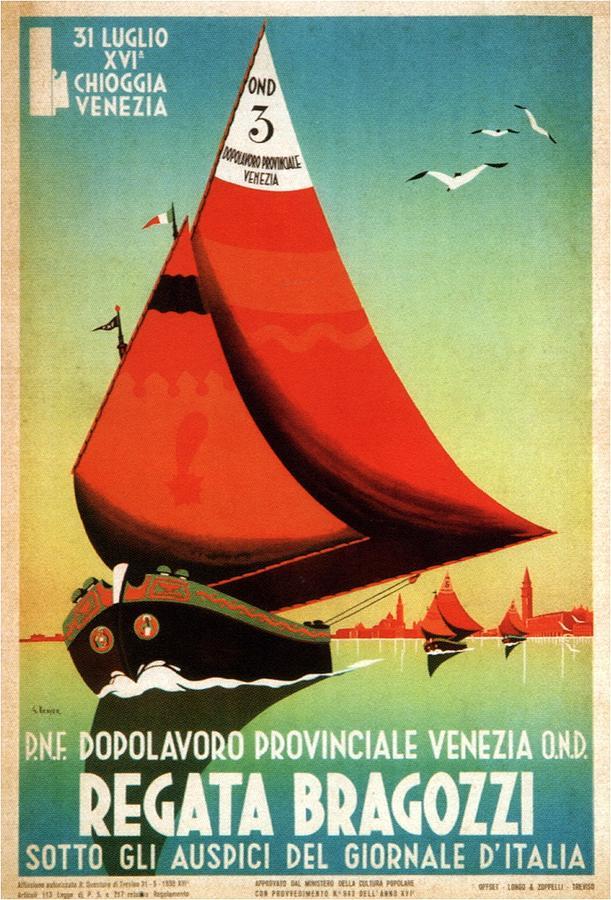 Dopolavord Provinciale - Regata Bragozzi, Venezia, Italy - Retro Travel Poster - Vintage Poster Mixed Media