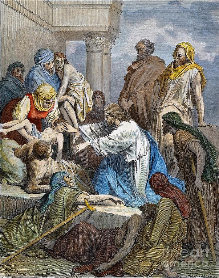 19th Century Photograph - Dor�: Jesus Healing Sick by Granger