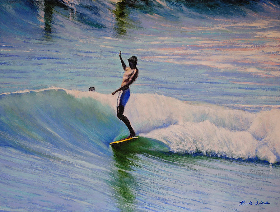 Surfing Painting - Dora by Kenneth DelGatto