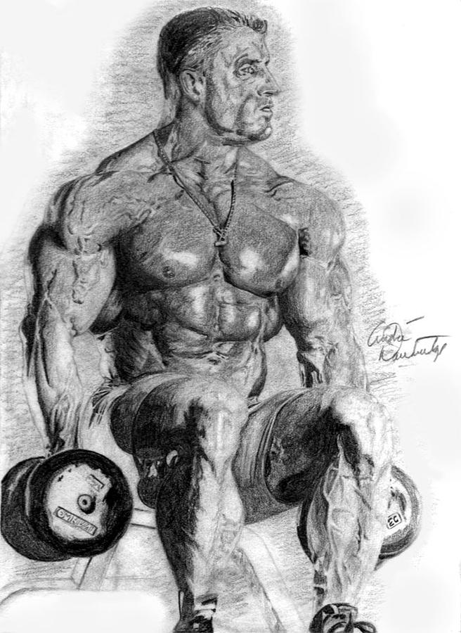 Bodybuilder Drawing - Dorian Yates by Andre Dandrdige