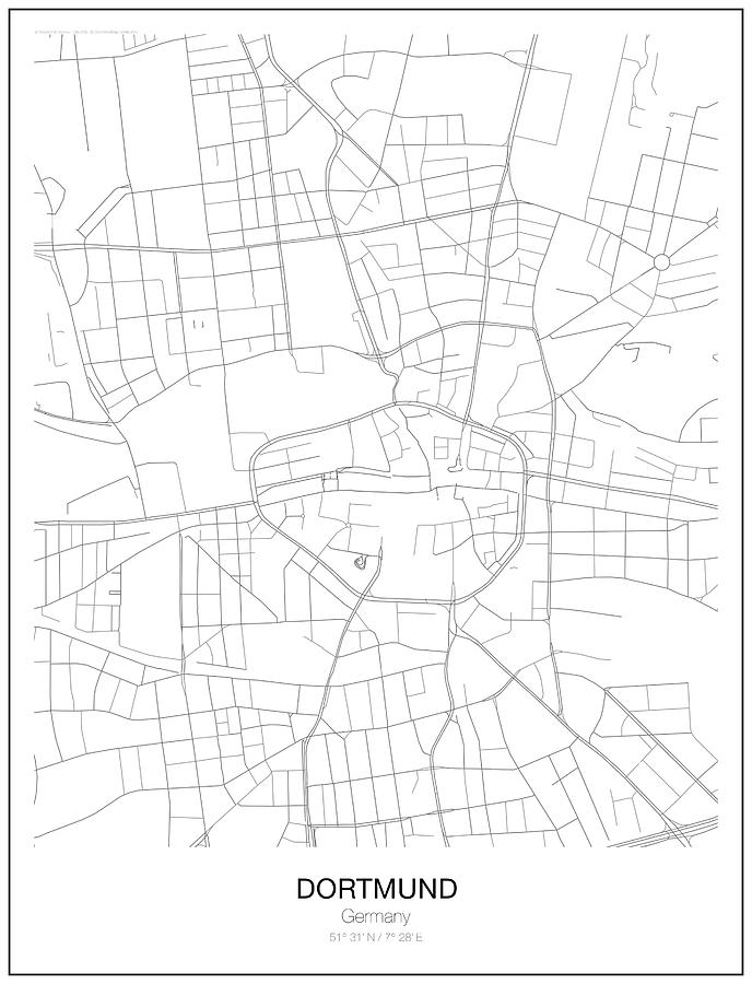 Dortmund Minimalist Map Digital Art by Lori Hinner on