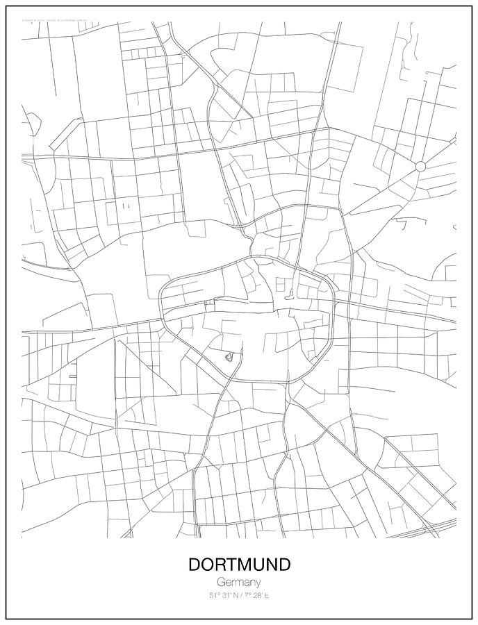 dortmund digital art dortmund minimalist map by lori hinner