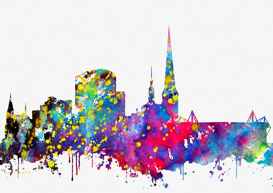 Dortmund Digital Art - Dortmund Skyline-colorful by Erzebet S