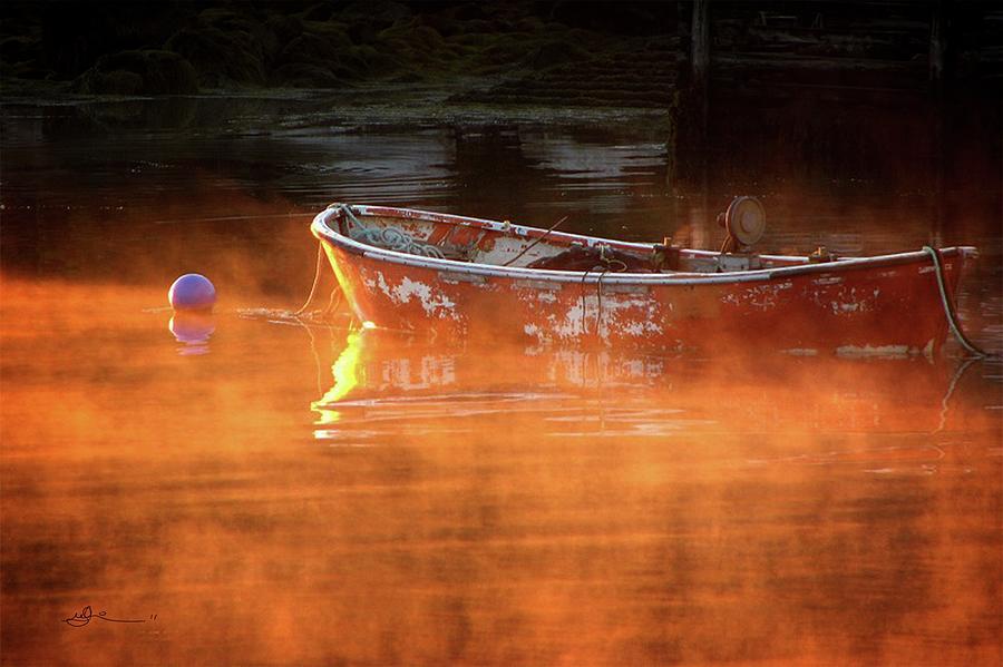 Dory Photograph - Dory In Orange Mist by Bill Linn