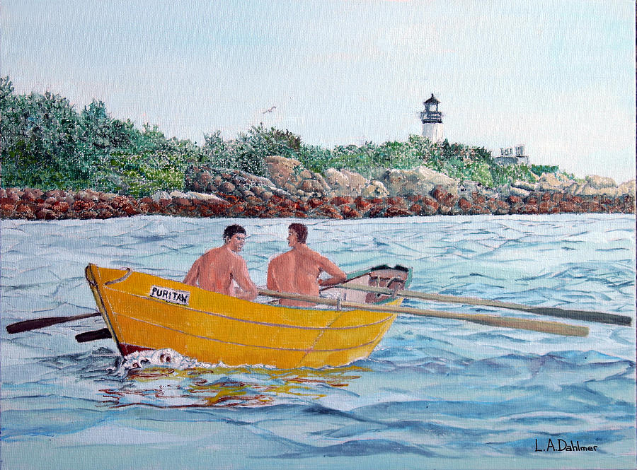 Gloucester Painting - Dory Off Ten Pound Island by Laurence Dahlmer