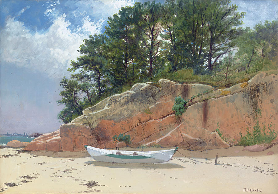 Dory Painting - Dory On Danas Beach by Alfred Thompson Bricher